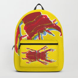 Stag Beetle Tricolore lino cut on yellow background Backpack