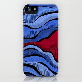 Blue Waves With Interrupting Red iPhone Case