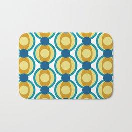 Retro Circle Pattern Mid Century Modern Turquoise Blue and Marigold Bath Mat