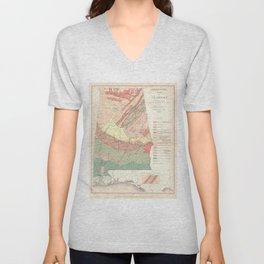 Vintage Agricultural Map of Alabama (1882) Unisex V-Neck