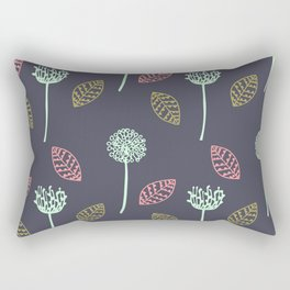 Hand drawn Floral leaves illustration pattern design dark blue Rectangular Pillow