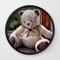 teddy bear Wall Clocks featuring Teddy Bear  by Fran Walding