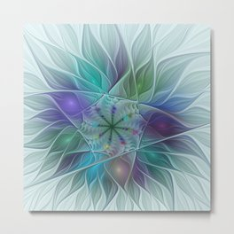 Colorful Fantasy Flower Fractal Art Abstract Metal Print