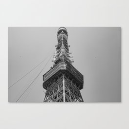 Tokyo tower in black and white Canvas Print