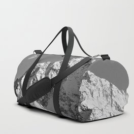 Moon Over Pioneer Peak B&W Duffle Bag