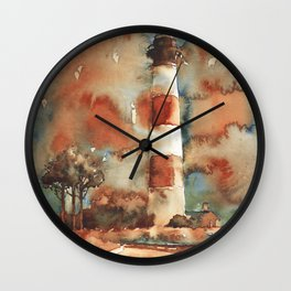 Bodie Island lighthouse- Outer Banks (OBX), NC.  North Carolina lighthouse Outer Banks artwork paint Wall Clock