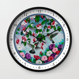 Hummingbirds in Fuchsia Flower Garden Wall Clock