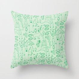 green montage Throw Pillow