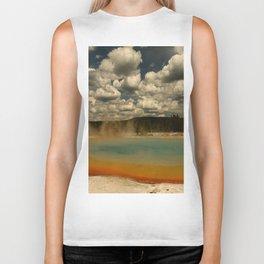 Sunset Lake Under A Cloudy Sky Biker Tank