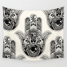 Hamsa Hand Pug Wall Tapestry