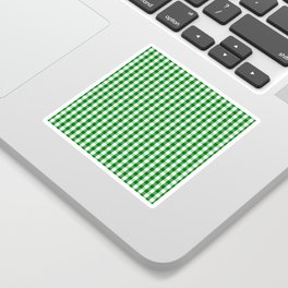 Christmas Green Gingham Check Sticker