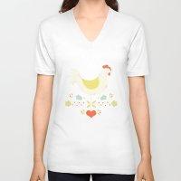folk V-neck T-shirts featuring Folk Chicken by Jenny Tiffany