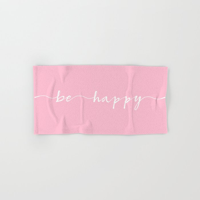 be happy, ink hand lettering Hand & Bath Towel