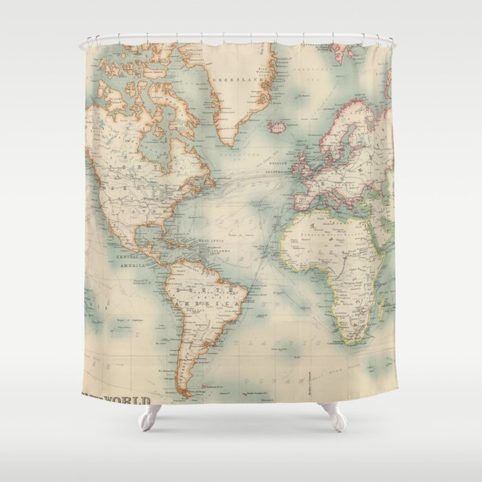 Vintage Map Of The World 1911 Shower Curtain By Bravuramedia