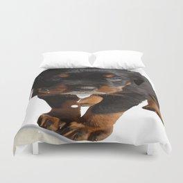 Cute Rottweiler Puppy Lapping Milk Vector Duvet Cover
