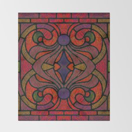 Art Nouveau Glowing Stained Glass Window Design Throw Blanket