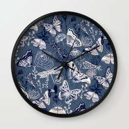 Dragonflies, Butterflies and Moths With Plants on Navy Wall Clock