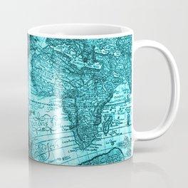 Turquoise Antique World Map Coffee Mug
