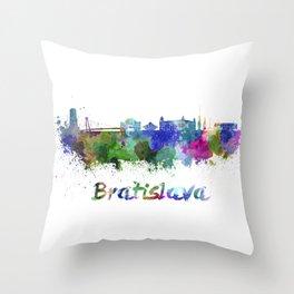 Bratislava skyline in watercolor Throw Pillow