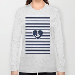 Modern navy blue white heart anchor nautical stripes Long Sleeve T-shirt