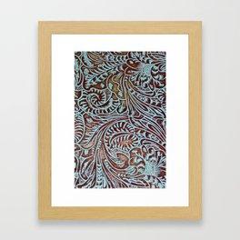 Light Blue & Brown Tooled Leather Framed Art Print