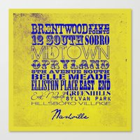 nashville Canvas Prints featuring Nashville by Artsy B