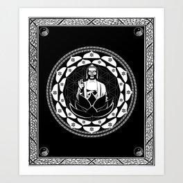 Buddha Black & White Yin & Yang Flower Of Life Art Print