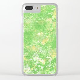 Yellow green spring Camo print Clear iPhone Case