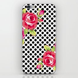 Roses on black dots iPhone Skin
