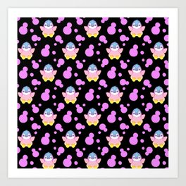 Cute sweet lovely little baby penguins flapping wings, bold pink retro dots black nursery pattern Art Print