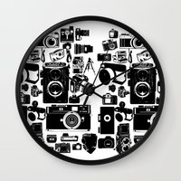 cameras Wall Clocks featuring Cameras by Ewan Arnolda