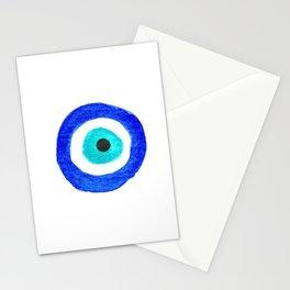 Single Evil Eye Amulet Talisman Ojo Nazar - on white Stationery Cards