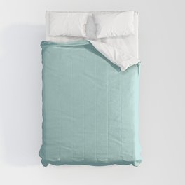 Soft Pastel Aquamarine Blue Green Solid Color Inspired by Behr Beachside Drive M460-2 Comforters