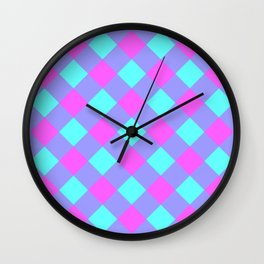 Orchid Aqua Gingham Plaid Wall Clock