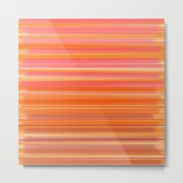 Passionate Ombré Stripes- Pink & Orange Metal Print