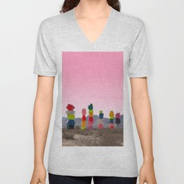 Seven Magic Mountains with Pink Sky - Las Vegas Unisex V-Neck
