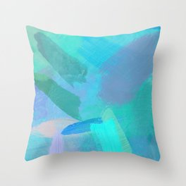 splash painting texture abstract background in blue pink Throw Pillow