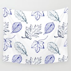 Leaves (navy) Wall Tapestry