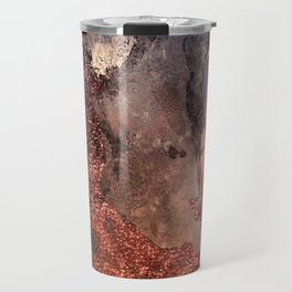 Copper Glitter Stone and Ink Abstract Gem Glamour Marble Travel Mug