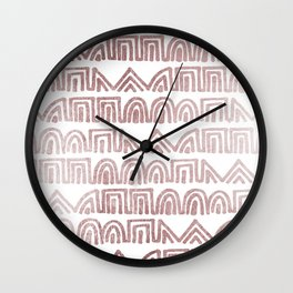 Elegant abstract faux rose gold geometric tribal  Wall Clock