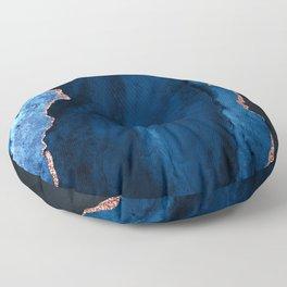 Sapphire Blue and Elegant Aqua Rose Gold Agate Floor Pillow