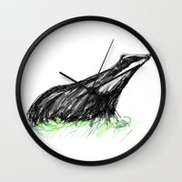 badger Wall Clocks featuring Badger by James Peart