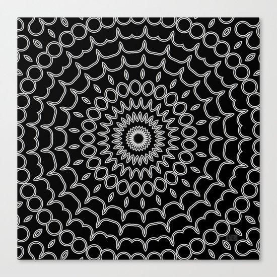 Mandala Fractal in Black and White Canvas Print