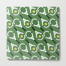 Green Tennis Pattern Metal Print