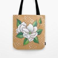 magnolia Tote Bags featuring Magnolia by Judy Skowron