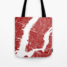 Red City Map of New York, USA Tote Bag