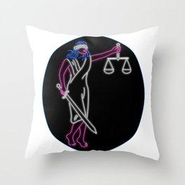 Lady Justice Holding Sword and Balance Oval Neon Sign Throw Pillow