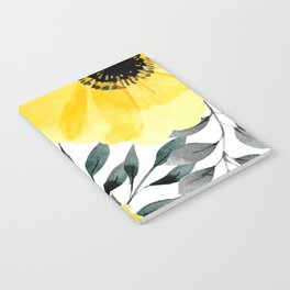 Big yellow watercolor flowers Notebook