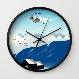 crans-montana Switzerland. Wall Clock