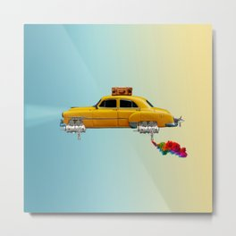 Yellow sci-fi car Metal Print